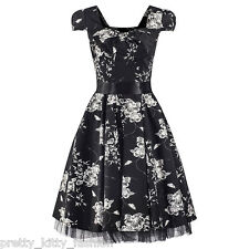 50s BLACK FLORAL COCKTAIL VINTAGE ROCKABILLY TEA SWING PROM PARTY DRESS 8-20