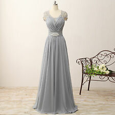 Cap Sleeve Gray Long Mother Of The Bride Dresses Evening Formal Prom Gowns
