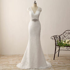 Cap Sleeve Lace Mermaid Wedding Dresses V Neck Beading Button Garden Bridal Gown