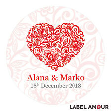 PERSONALISED Round Wedding Sticker Labels Floral Heart Party Bag Favour  | Alana