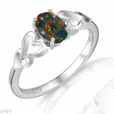 Oval Cut Promise Engagement Black Fire Opal Love Four Heart Sterling Silver Ring