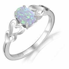 Oval Promise Engagement Moonstone Fire Opal Love Four Heart Sterling Silver Ring