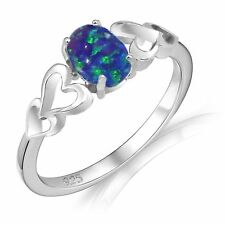 Oval Promise Engagement Dark Blue Fire Opal Love Four Heart Sterling Silver Ring