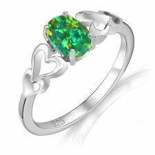 Oval Promise Engagement Green Fire Opal Love Four Heart Sterling Silver Ring