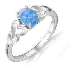 Oval Promise Engagement Light Blue Fire Opal Four Heart Sterling Silver Ring