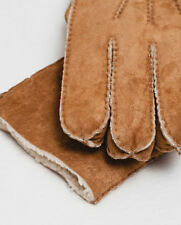 Mens ZARA MAN TAN LEATHER SHEARLING SHEEPSKIN DETAIL LINED GLOVES RRP£30 M