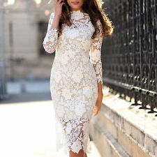 Women Lace Evening Sheath Party Dress Mother Of The Bride Cocktail Prom Gowns