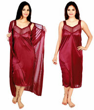 @rk Women Satin  2 PC Multi Color Nighty,Night Suit, Night dress with Robe
