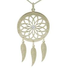 Solid Silver Personalised Dreamcatcher Pendant With Feathers & Crystal Option