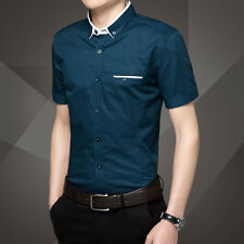 Mens Formal Business Workplace Casual Shirt Imported Shirt pure Korean male