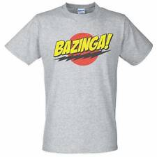 Grey T-Shirt with Bazinga Design - The Big Bang Theory Sheldon Cooper