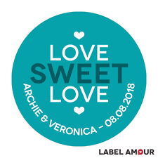 PERSONALISED Round Wedding Sticker Labels Love Sweet Heart Party Favour | Archie