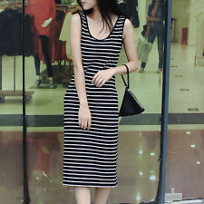 Korean summer sleeveless long sling striped dress size slim package hip skirt