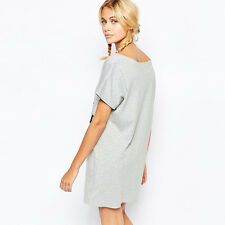 RICHCOCO fashion leisure boyfriend wind hit color letters & loose T-shirt dress