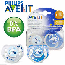 PHILIPS AVENT NIGHT TIME GLOW IN DARK SILICONE SOOTHER 6-18M BOYS/GIRLS BPA FREE