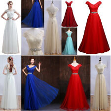 Stock Hot Long Lace Bead Formal Evening Party Prom  Ball Gown Bridesmaid Dresses
