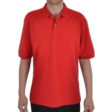 Ashworth Mens Classic Solid Short Sleeve Plain Pique Golf Polo Shirt Top - Red