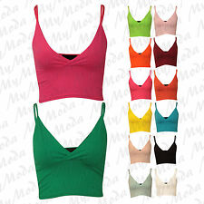 Ladies Women's Sleeveless V Neck Cami Strappy Sexy Bralet Short Crop Top 8-14
