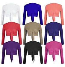 LADIES LONG SLEEVE TIE KNOT FRONT BOLERO SHRUG CARDIGAN CROPPED TOP UK 8-14