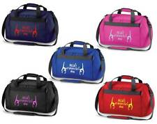 PERSONALISED PRINTED HOLDALL WITH GYMNASTICS DESIGN -leotard shoes rings mat bag