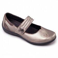 Padders POEM Ladies Womens Comfort Extra Wide Plus Fit Mary Jane Shoes Pewter