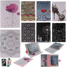 Cute Patterns PU Leather Case for Samsung Apple iPad Tablets Stand Wallet Cover