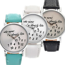 Fashion Women Mens Leather Stainless Steel Letter Watch Sport Quartz Wrist Watch