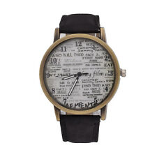 Fashion Men Women Leather Stainless Steel Letter Sport Analog Quartz Wrist Watch