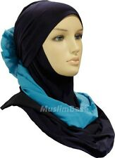Lebanese Two Piece Hijab - Navy and Teal - Lycra - Beautiful - Stock Clearance