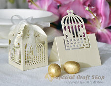 Luxury 10 Wedding Favour Boxes Bags & 10 Name Place Cards Table Decorations Set