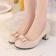 2016 spring bow with thick with round large size high-heeled shoes singles