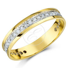 9ct Oro Giallo Anello Eternity Con Diamante 4mm Terzo Carato 0,33 Ct Half