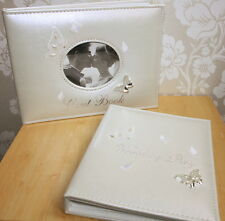 Butterfly Guest Book or Wedding Album, choice of size album, pearl/diamante