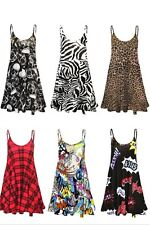 New women's printed leopard aztec comic print cami long vest mini dress 8-26