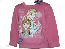 bnwt disney frozen anna & elsa pink sweatshirt top jumper 2,3,4,5,6,7,8 yrs