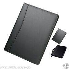 PU A4 Zipped Black Executive Conference Folder Portfolio Leather Look Organiser