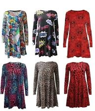 New women's printed leopard comic pattern long sleeve swing dress 8-26