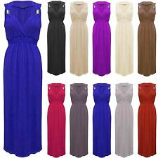 Womens Sleeveless Flare Spring Coil Plain Ladies Jersey Long Stretchy Maxi Dress