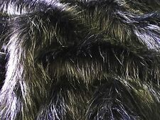 Super Luxury Faux Fur Fabric Material - LONG PILE BLACK