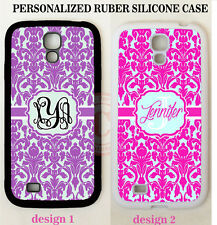 PERSONALIZED PURPLE HOT PINK DAMASK MONOGRAM Case For Samsung Galaxy S7 S6 NOTE