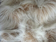 LONG Pile Fun Faux Fur Fabric Material - CAMEL FROST