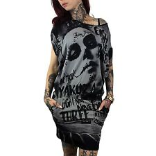 Yakuza Shirt-Kleid Damen Mexican Allover-Print Fledermaus-Look GKB 8125 schwarz