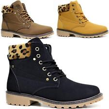 LADIES FASHION HIKING BOOTS WOMENS ANKLE DESERT TRAIL COMBAT WALKING LACE SHOES