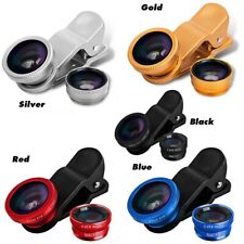 3 in 1 Clip on Camera Lens Wide Angle Macro Fish Eye Apple iPhone Samsung