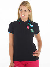 Bunker Mentality Womens Badges Clubhouse Polo - Black RRP £45