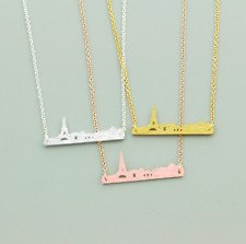 Silver Gold Rose Plated Paris France Cityscape Skyline Necklace in Gift Bag/Box!