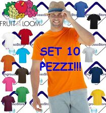 SET 10 T-SHIRT UOMO MAGLIETTE MANICHE CORTE COTONE FRUIT OF THE LOOM STOCK VALUE