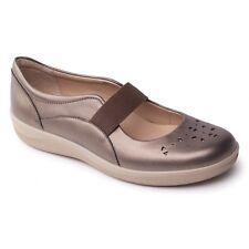 CLEARANCE Padders FLARE Ladies Leather Wide Mary Jane Shoes Pewter | RRP £59.95