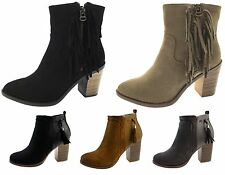 Womens Wooden Block Heel Chelsea Ankle Boots Faux Suede Tassel Boots Ladies Size