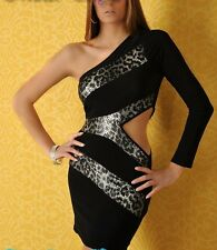 SeXy GoGo one Shoulder Stretch Mini Kleid 1 Arm 34/36 36/38 schwarz leopard TOP